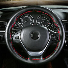 Black Genuine Leather DIY Car Steering Wheel Cover With Needles and Red Thread