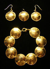 Double Cornucopia BRACELET EARRINGS of Israel Israeli 5 Sheqalim coins JEWELRY