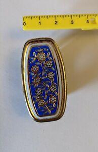 Vintage Gold Tone Lipstick Holder Mirror Ring Blue Flowers