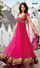 Pink Salwar Kameez Floor Length Anarkali Suit Net Eid Special Pakistani Dress