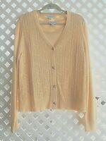 St. John Womens Sport Knit Twinset Tank Medium Large Cardigan Sweater Apricot