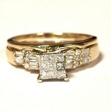 14k yellow gold princess invisible set diamond engagement ring wedding band 4.2g