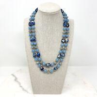 "Vintage Blue Beaded Necklace Double Strand Gold Tone 20"" L Mid Century Retro"