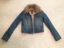 Abercrombie & Fitch Fur Lined Denim Jean Jacket Xs 0