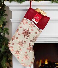 🎅 Jute Hessian Christmas Xmas Stocking Stockings Foil Printed Santa Gift Sack