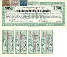 Pennsylvania 1903, Philadelphia Knitting Mills Co Bond Stock Certificate