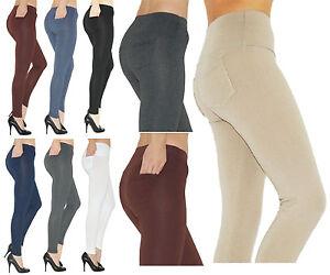 Damen Leggings lang Hose lange Leggins Röre Baumwolle hoher Bund mit Taschen
