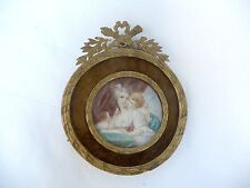 ca 1880 ANTIQUE FRENCH MINIATURE PAINITNG OF A YOUNG LADY AND A CUPID