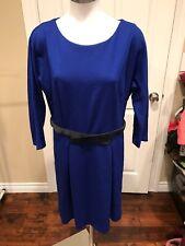 Girls from Savoy Blue Dress W/ Black Velvet Belt, Size Large, NWT