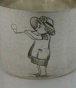 PRETTY SILVER PLATE NAPKIN RING KATE GREENAWAY DESIGN ? c1880-1890