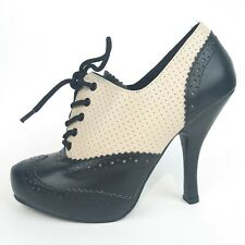 Pin Up Couture Cutiepie 14 Lace-Up Oxford Pump US7 Black Cream Vegan Leather