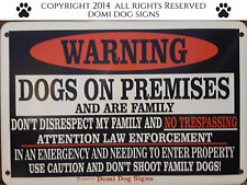 "Metal Warning Dogs Sign For FENCE ,Beware Of Dog 8""x12"" dogs are family"