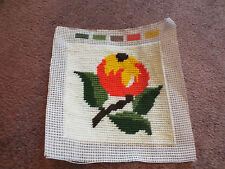 "Needlepoint Sampler Complete & Ready to Frame 5 x 5"" Floral Cute"