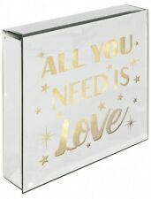 All You Need Is Love - Light Up Mirrored Plaque . Wall Hanging or Freestanding