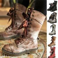 Women Mid Calf Lace Up Biker Punk Military Combat Ankle Boots Shoes Low Heel