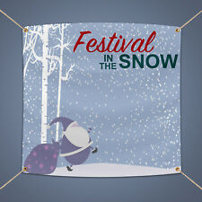 Festival In The Snow Banner, 3' X 2' Outdoor Christmas Party Decor Pvc Sign