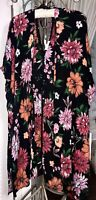 NEW Plus Size 1X Black Open Kimono Bright Floral Duster Jacket Topper