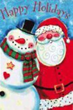 New listing Santa Snowman Happy Holidays 12½ x 18 Small Garden Flag Banner Holiday