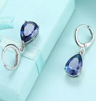 14K White Gold Bezel Teardrop Sapphire Leverback Dangle Earrings