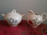 Creamer and Sugar Bowl with Lid, Mum Flowers, Brand Jeanette. Used.