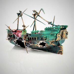 Aquarium Decoration Boat Ship Air Split Shipwreck Fish Tank Decor Sunk Wreck Orn