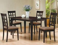 5pc Espresso Dining Room Kitchen Set Table & 4 Wheat Waffle Back Chairs 5 piece