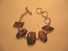 Toggle Bracelet Tigers Eye Wide Stone Sterling Silver SJ 925 , 6.5 - 8 in Long