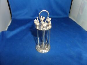 LOVELY VINTAGE EDWARDIAN COCKTAIL PICK STAND C.1910 HUKIN & HEATH SILVER PLATE