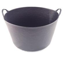 2 x Large 55L BLACK Flexi Tub Bucket Container Garden Toy Storage Tubs Buckets