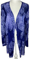 NWT Chico's Royal Paisley Roslyn Cardigan Sweater Size 3 Brazilian Blue MSRP $99