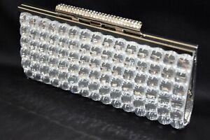 Silver Gem Diamante Diamond Crystal Evening bag Clutch Purse Party Prom Wedding