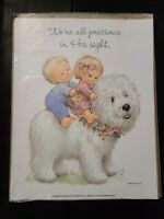 "Two Vtg Morehead Inc Prints Posters Kids Babies Dog Precious Aprox 11""  x 14"""