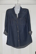 Womens size 10 blue button down denim shirt made by KATIES