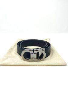 Salvatore Ferragamo Black Calfskin Leather Belt Gancini Buckle - REVERSABLE