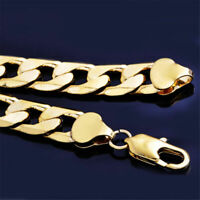 """18K Gold Filled Men's Boy Stainless Steel  Curb Cuban Necklace Chain Jewelry 24"""""""