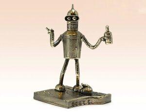 """Bender Futurama Figurine Bending Rodríguez Robot Miniature Bronze 3.15"""""""