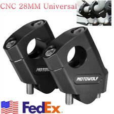 2X Left+Right Motorcycle 28mm 1 1/8'' Motorcycle Handlebar Riser Mount Clamp CNC