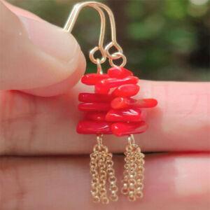 Natural red agate Earrings Dangle 18KGP Chain girl gift Thanksgiving Christmas
