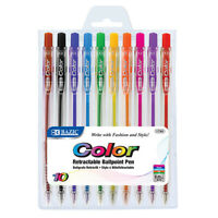 10 Bold Point Retractable Color Pen Write w/ Fashion and Style Brilliant design