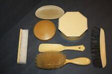 Lot Of 7 Vintage Art Deco Celluloid Vanity Dresser Items Brush, Comb, Powder Box
