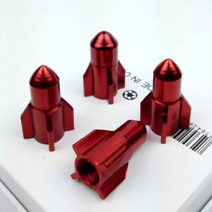 4pcs Aluminum Car Wheel Tire Air Valve Stem Red Rocket Anti-Dust Stem Caps Cover