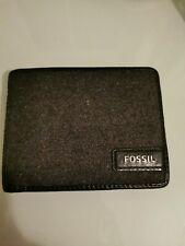 Fossil Felt/Genuine Leather Trifold Wallet