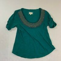 Anthropologie Deletta Blue Embellished Jeweled Beaded Crew Neck Scrunching Top S