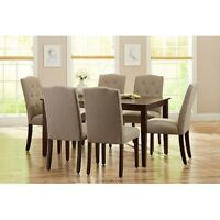 7-Piece Dining Table Chairs Set for 6 Solid-Wood Kitchen Room Family Beige Mocha