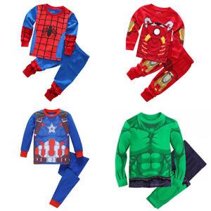 2Pcs Kid Boys Iron Man Hulk Spider-Man Sleepwear Long Pajamas Matching Sets 1-8Y