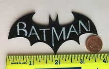 "BATMAN*EMBROIDERED PATCH*BLACK BAT*BLUE*IRON ON*3.5""x1.5"""
