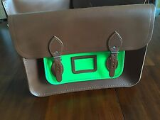 The Cambridge Satchel Company  OX Old School Bags ( Bronw -Neon Green) $ 225