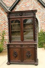 Antique French Oak Barley Twist Black Forest Harvest Hunt Cabinet Bookcase