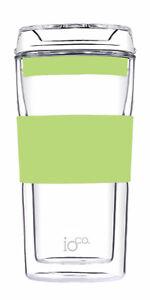 IOco 12oz All Glass Coffee Tea Cup Mug.Travel Reuse & Keep it -Pistachio