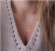 Gold Infinity Small Circle Necklace Hollow Floating Charm Dainty Pendant Chain